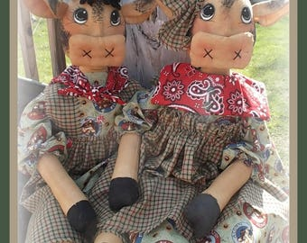 "Primitive raggedy 24"" Bessie and Bertis 174 farm cows cloth doll EPATTERN INSTANT DOWNLOAD"