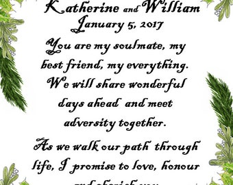 Winter Wedding Print Handfast Custom Vows Christmas Marriage Personalized 11x14 Wall Art Certificate Holly Mistletoe Pine Anniversary