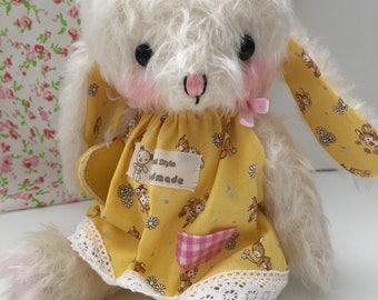 artist bear bunny Rabbit in day dress by bear artist Jenny Lee and jennylovesbenny mohair bears