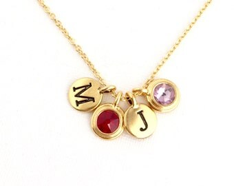 Birthstone Necklace - Family Necklace - Gifts For Her - Personalized Monogram Necklace - For Women - Gift For Daughter