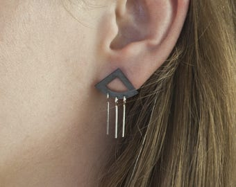 Triangle Dangle Earrings - Silver & Black Patina, Fringe