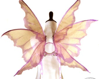 Chastity No. 15 - Medium Organza Fairy Wings in Peach and Lavender - Convertable Strappless