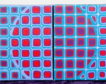 SALE Original Mandala Art Painting: Vasarely Study in Red Blue and Purple