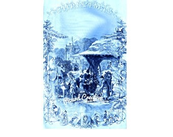 "Victorian Christmas Scene Godey's Lady's Book Digital Image from 1870 10"" x 6.3""  Blue Tinted Christmas Scene"