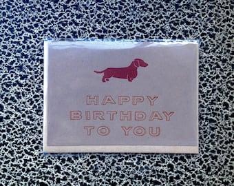 dachshund birthday letterpress card