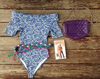 Vintage Grab Bag! 1980s Valley Girl Gift Set with Floral Bodysuit, Purple Chain Link Purse, Neon Belt & VHS