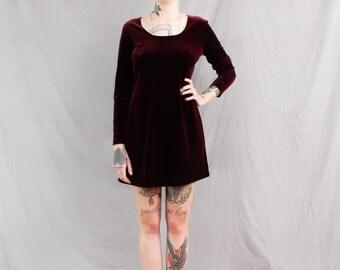 90's Maroon Velvet Mini Dress with Scoop Neck in Medium . Long Sleeves Velvet Dress . Purple Red Medium Large . 1990s