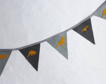 Dinosaur Bunting - T-rex Bunting - Gray  Bunting - Grey and Mustard Bunting - Party banner - Ready to ship