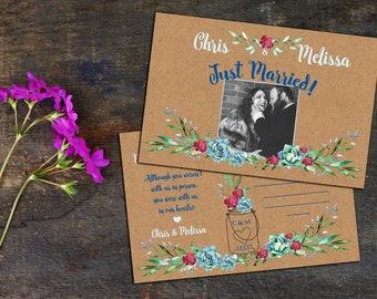 Rustic Succulents Eloped Announcement Post Card, Just Got Married Announcements, Post Cards, Party Invitation, Custom Photo Announcements