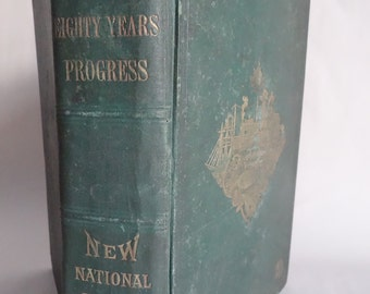 YOUNG AMERICA Eighty Years Progress Book Rare hc Tools Agriculture Railroad Steamboats Inventions Coaches INDUSTRY Illustrated Engravings