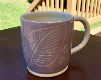 Pottery Mug - Purple Leaf Mug - Handmade Pottery and Ceramics
