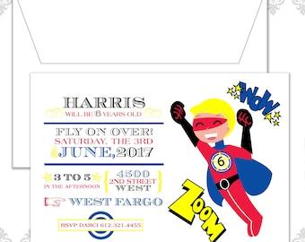 Superhero Party Invite, Modern Super Hero Birthday Invitation, Zoom, Six year old Birthday Invite, Superhero Invitation, Super hero Party