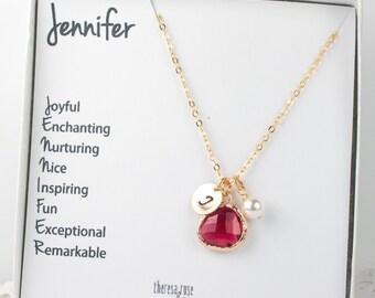 Personalized Birthstone Gold Necklace with Custom Name Jewelry Card, Birthstone Jewelry, Bridesmaid Gift, Personalized Gold Necklace
