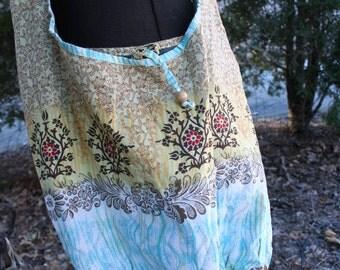 Cotton print shoulder bag India sparkle purse