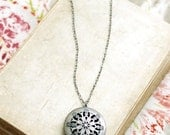 Long Necklace, Silver Locket, Filigree