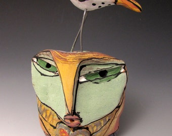 """Owl art, handmade one of a kind ceramic owl art,""""Owl Person and Dancing Bird.  Love is All, 5-3/4"""" tall"""