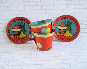 Pair of Vintage Ohio Art Tea Cups and Saucers - Little Mexican Boy