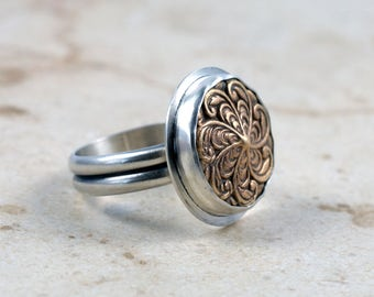 Spiral Bronze and Sterling Silver Ring, Floral Design, Size 9 US, OOAK Handmade