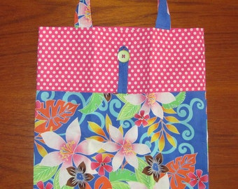Tuck and Roll Fold-Up Portable Shopping Tote Tropical Flowers Design