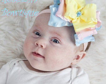 Spring baby headband, Easter baby headband, double ruffle bows, hair bows for girls, Pink bows, blue bows, yellow bows, newborn headband