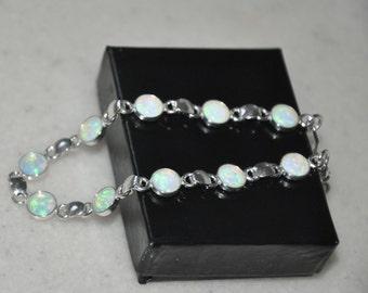 Opal Bracelet,  Sterling Silver Bracelet,  White Opal,  Wedding Jewelry,  Opal Jewelry,  Gift for Her