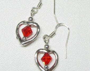 heart shaped dangle earrings with red swarovski crystals,red crystal dangle earrings,heart dangle earrings,silver dangle earrings