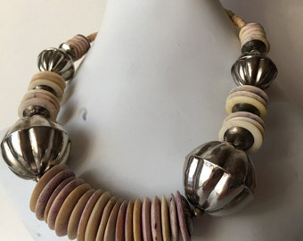 1970's Large Ethnic Bohemian Statement Necklace with Metal Beads and Carved Bone Disc Beads