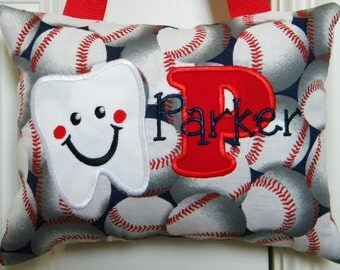 Tooth Fairy Pillow Boys Tooth Fairy Pillow Personalized Tooth Fairy Pillow - Large Baseballs