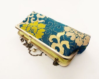 Clutch bag, emerald green and gold decorative vintage Japanese obi fabric, evening purse