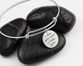I Love You And I Like You. Expandable Bangle.  Parks and Recreation. Leslie Knope. Ben Wyatt. Gifts for Her.Sterling Silver. Valentines Day.