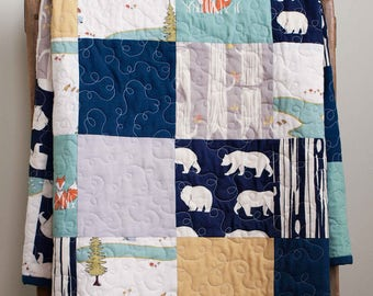 Modern Camping, Woodland Patchwork Quilt; Custom Organic Cotton Baby Boy Quilt; Handmade Toddler Quilt; Blue, Gray Personalized Baby Quilt