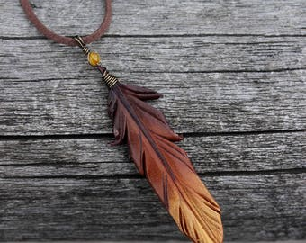 Bronze Gold Feather Pendant - 3-inch Leather Bird Feather Necklace