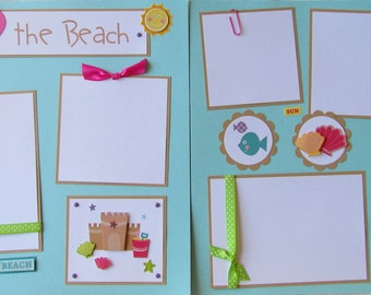 12x12 Premade Scrapbook Pages -- LOVE the BEACH -- SuMMeR vacation