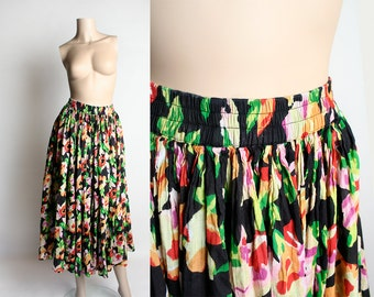Vintage Floral Maxi Skirt - India Cotton - Bright and Bold 1980s 1990s Light As Air Cotton Gauze Skirt - Bohemian Boho Style - Small Medium