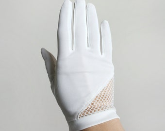 Vintage 1960s Gloves - White Nylon Sheer Netted Asymmetrical Wrist Gloves by Avon - Small