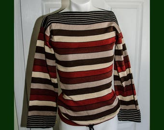 Vintage 1970's Striped Knit Poor Boy Sweater by Melange