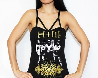 HIM band shirt heavy metal tunic top gothic clothing heartagram alternative apparel reconstructed rocker clothes altered band tee