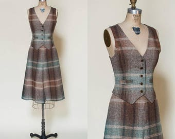 1970s Western Suit --- Vintage Plaid Skirt Blouse Set
