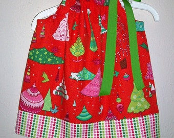 Christmas Dress Pillowcase Dress with Funky Trees Alexander Henry Candy Colored Christmas Outfit Holiday Dresses for Christmas Clothes