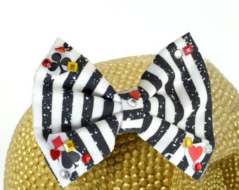 FULL HOUSE - Black and White striped fabric with Playing Cards and crystal embellishments Hair Bow on Alligator Clip