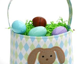 Easter Basket Bunny Applique argyle boys chocolate bunny