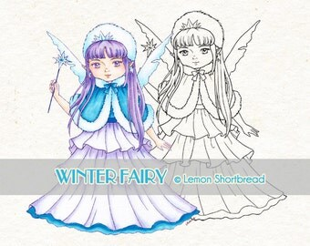 Digital Stamp Winter Fairy, Digi Download Snow, Christmas, Merry Xmas, Coloring Page, Scrapbooking Clip Art