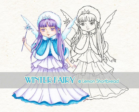 Digital Stamp Winter Fairy, Digi Snow, Christmas, Merry Xmas, Coloring Page, Scrapbooking Clip Art, Instant download