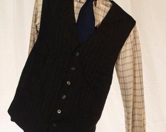 Men's Suit Vest / Vintage Black Pinstripe Waistcoat / Size 50 XXL //  #4015