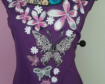 Womans Top....Charlotte.... One of a Kind Fragipani and Butterflies Embroiderd Woman's top soft and elegant