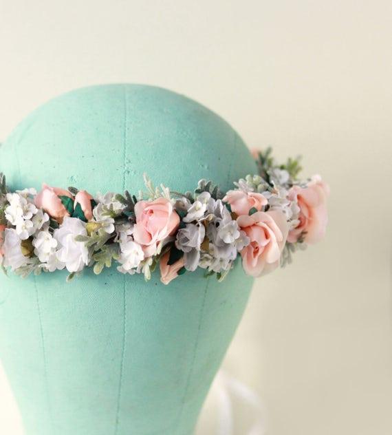 Pastel flower crown, Peach floral, Boho bridal headpiece, Pink rose crown, Neutral pink and green flower headpiece, Artificial head wreath