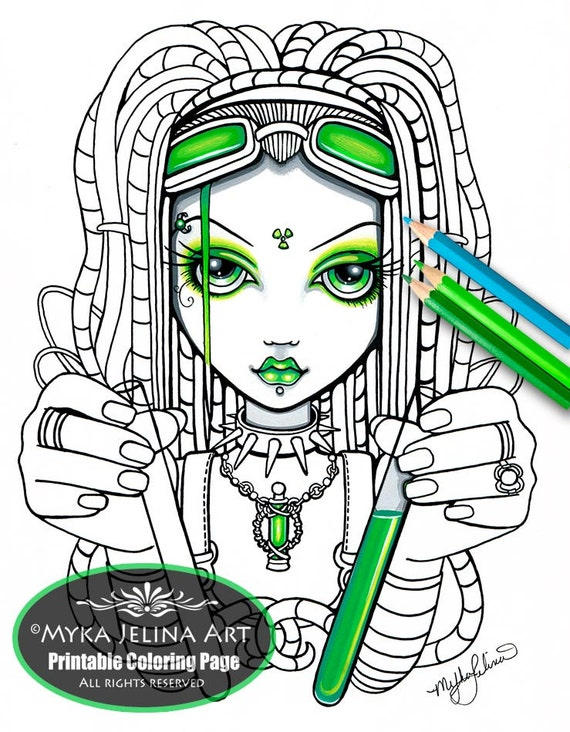 Vivian cybergoth fairy fairy art digital download for Myka jelina coloring pages