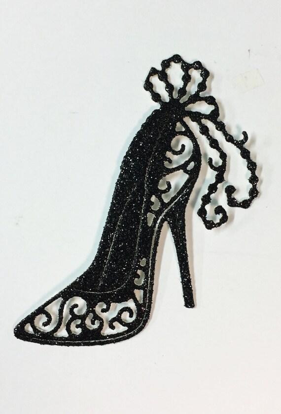 Fancy Swirl High Heel Black Glitter Die Cut - 10 Pieces - Elegant Feminine Embellishment - Scrapbook - Greeting Card Art Craft Mixed Media
