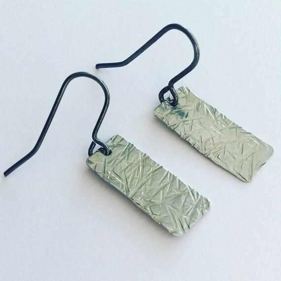 Gun Metal Tone Earrings With Crosshatch Texture on Blackened Brass Ear Wires - Modern - Geometric - Simple