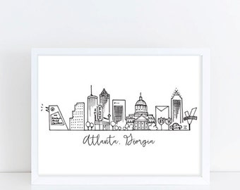 Atlanta, Georgia Skyline Art Print